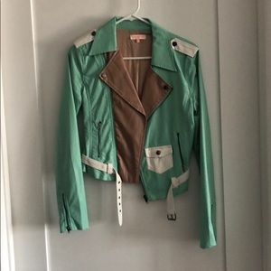 Nameless Mint, Tan & White Faux Leather Jacket